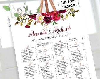 Wedding Seating Chart Alphabetical, Burgundy Wedding Seating Chart, Wedding Seating Chart Template, Seating Chart Poster, RUSH SERVICE