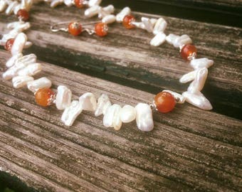 Mother Pearl & Carnelian Necklace
