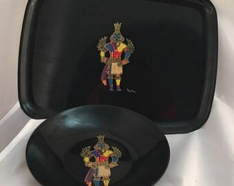 Couroc of Monterey Hummingbird Kachina Tray and Bowl Set