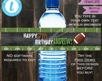 Football Water Bottle Wrap Beer Wrap Birthday Party Decoration Supplies Touchdown Kick Off Chalkboard Custom Printable INSTANT Self EDITABLE