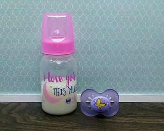 Reborn 5 oz Baby Bottle and Magnetic or Putty Pacifier, 5 oz Fake Faux Baby Milk Formula Bottle, Reborn Baby Girl Accessories, Ready to Ship