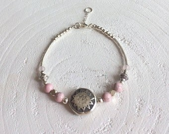 Bohemian beads, silver plated Beads Bracelet with pink blended with a silver plated clasp and extension chain