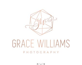 Rose Gold Geometric Logo Hexagon, Photography Logo, Geometric Watermark Logo, Elegant Initials Logo, Rose Gold Branding Set, Minimal Logo