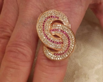 Gatsby Ruby & White Topaz Gemstone Large Art Deco Sterling Silver and Rose Gold Overlay Ring 1.25 ct  Size - 9