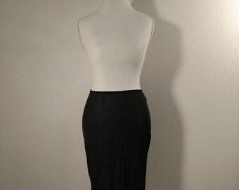 60's black fringe half slip, lingerie, vintage underwear, undergarment, burlesque, boudoir, small slip, nylon, size 6, made in USA