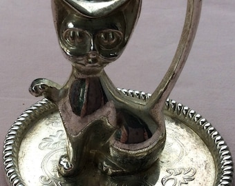 Cat figurine vintage silver plated brass ring