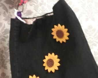 Black Sunflower Corduroy Handbag