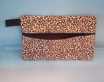 """Large animal print 9"""" flat Zippered Pouch"""