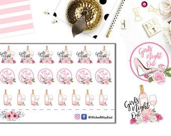 Girls Night Out Pink Planner Sticker, Ladies Night Out Planner Stickers, Pink Champagne Sticker, Fashion Planner, Planner Accessory