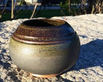 Small Matte Black & Greenish Vase