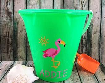 Personalized Beach Bucket - Personalized Sand Bucket - Monogrammed Bucket - Sand Bucket - Beach Pail - Flamingo - Party Favor - Beach Toy