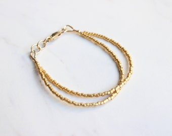 2-in-1 Gold Beaded Bracelet