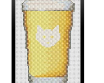 Etched Cat Pint Glass Counted Cross Stitch Pattern / Cat Beer Cross Stitch / Cat Toy Cross Stitch Pattern / Pint Cross Stitch