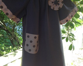 4 year old Girls Peasant dress, chocolate with apricot and chocolate spotted trim. One off.