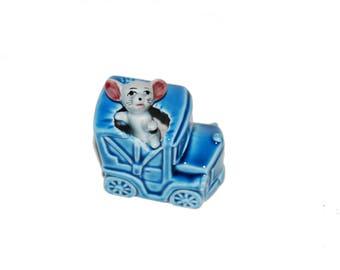 vintage 60s cute mouse blue waggon car decorative retro ornament kitsch figurine