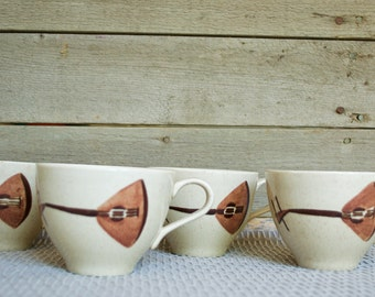 Red Wing Lute Song  Set of 4 Cups, Tea, Coffee, Musical Instrument, Mandolin, Brown, Light Blue, Turquoise, Beige, Vintage, Mid Century