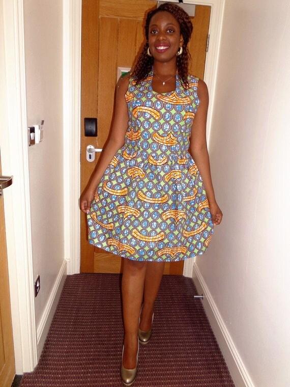 robe col montant sans manches en wax pagne africain. Black Bedroom Furniture Sets. Home Design Ideas
