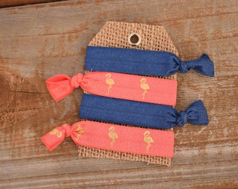 Set of 4 Elastic hair ties/ foe hair ties/ ponytail holders/ fold over elastic/navy/pink/coral/flamingo
