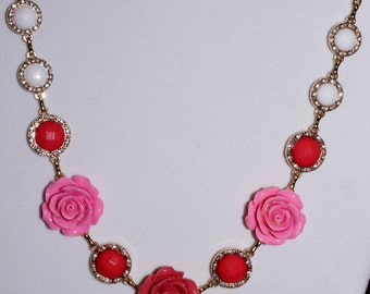 Springtime Collection/Roses in Bloom/Variations of Pink Roses Necklace