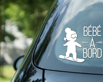 Bébé à bord sign snowboarding, girl on snowboard, vinyl on decal paper, car decal, kid on board