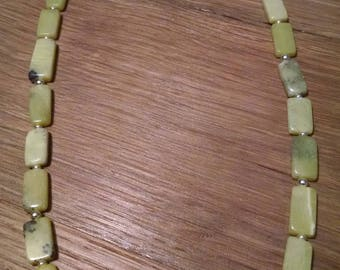 """23.5"""" Olive Jade and Sterling Silver Necklace"""