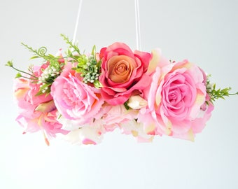 Flower mobile,Floral mobile,Floral Chandelier,NurseryMobile,Baby mobile,Gift,pink,white,Baby chandelier,floral decoration,Wedding chandelier