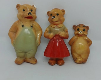 Just Right Vintage Chalkware Three Bears Family