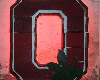 Ohio State LED Backlit Wooden Sign