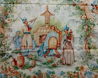 Vintage Fete Chinoise Beacon Hill Cotton Fabric Remnants, Asian, Hand Printed in Italy, Ornate, Decorator