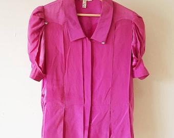 Vintage 80's Neiman Marcus Blouse Stars Fuchsia Designer Pink Purple Shirt French Fashion Neiman-Marcus France 1980's