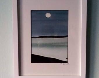"""Moon On Ocean 10"""" by 8"""" Original Watercolor Painting"""