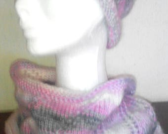 Pink/gray and white cowl or Snood