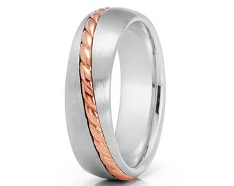 Rose Gold Wedding Band Braid Rose Gold Ring 14k Wedding Band Men & Women Anniversary Ring Satin Finish