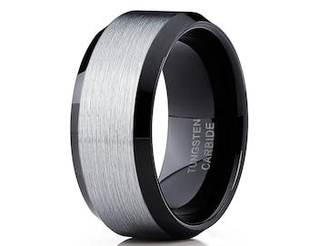 Brush Black Tungsten Wedding Band Tungsten Carbide Ring Men's Black Tungsten Ring Anniversary Ring Beveled Tungsten Band