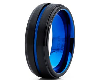 Blue Tungsten Wedding Band Black Tungsten Ring Men & Women Black Tungsten Carbide Ring Anniversary Ring Engagement Ring