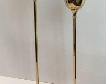 Vintage William Adams 24KT Gold Plated Tall Thin Taper Candlestick Holders, Set of 2, 1950's-1960's