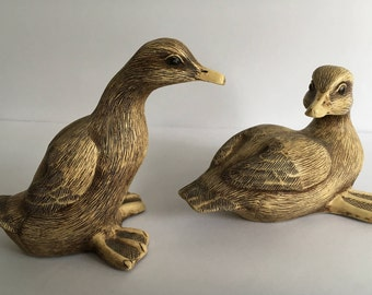 Vintage Pair of Baby Duck Figurines Farm Pond Puddlers Signed Vincent Giannetto Resin