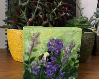 Bumblebee, mini art, flower painting, realism art, save the bees, nature painting, bee painting