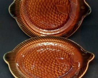 Lot 2 antique plates with fish, majolica, majolica ceramic Sarreguemines France 1970