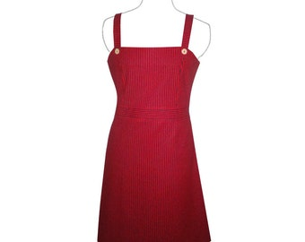 Red and blue striped cotton summer dress