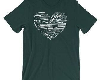 American Patriot Gun Lover 2nd Amendment Gun Rights Heart Shaped Shotgun Short-Sleeve Unisex T-Shirt