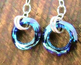 Sterling Silver Swarovski Bermuda Blue Cosmic Earrings- Lever Back