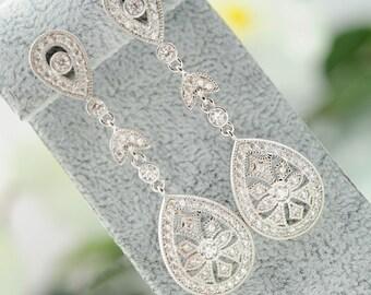 Bridal earrings Wedding Jewelry Drop Earrings Crystal Jewelry Bridesmaids earrings Prom earrings Bridal long earrings Swarovski earrings