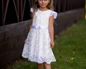 Flower girl dress lace, Baptism dress, Ivory lace girl dress, Country flower girl dress, Lace baby dress, Birthday girl dress, ivory dress