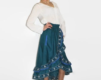 Embroidered boho clothing green skirt ukrainian embroidery vyshyvanka high waist long custom bohemian clothes woman fashion ethnic Ukraine
