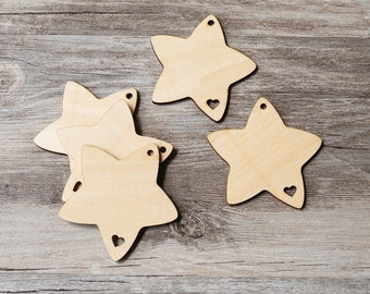 Unfinished wooden star ,plain wood Shamrock Embellishments for Craft ,Wood laser cut gift tags,scrapbooking embellishments