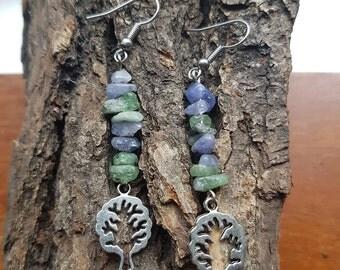 Tree of life earrings | Tanzanite earrings | Gemstone chip earrings | Boho earrings | Blue and green earrings | Tree of life | Tree earrings