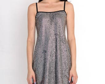 VINTAGE Silver Shiny Retro Dress