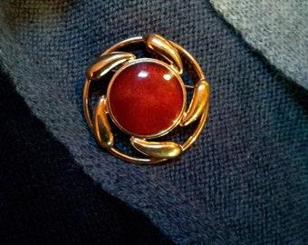 Red Enamel Vintage Brooch Pin Or Pendant