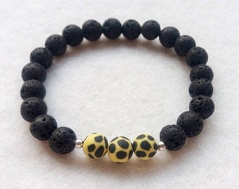 Essential Oil Diffuser Bracelet, Lava Stone and Polymer Clay Stretch Bracelet